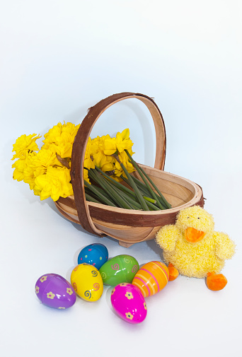 Easter Basket「A Basket Of Yellow Flowers And Plastic Easter Eggs With A Stuffed Yellow Chick; Northumberland England」:スマホ壁紙(4)
