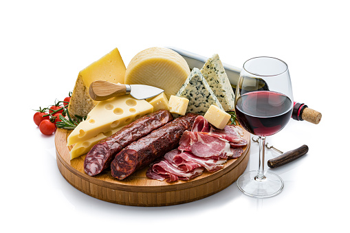 Appetizer「Cheese and wine: cheese, chorizo, Serrono ham and red wine isolated on white background」:スマホ壁紙(6)