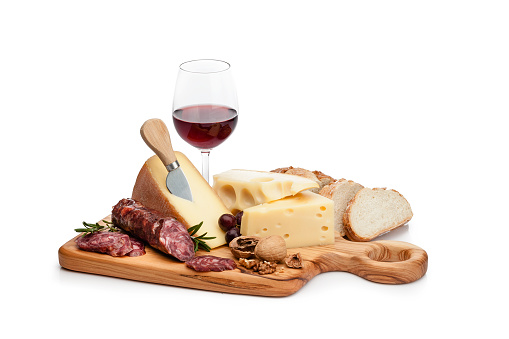 Snack「Cheese and wine platter isolated on white background」:スマホ壁紙(5)
