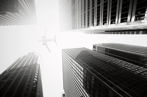 Window Frame「Skyscraper with a airplane silhouette」:スマホ壁紙(3)