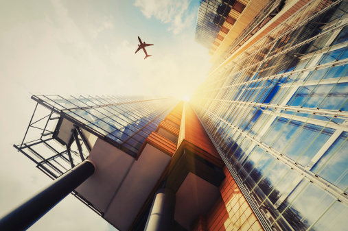 Business Travel「Skyscraper with a airplane silhouette」:スマホ壁紙(9)