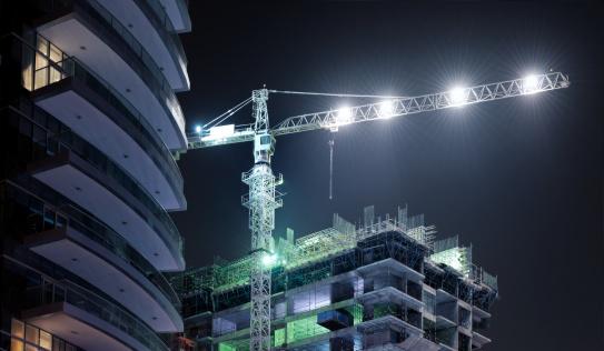 Crane - Construction Machinery「skyscraper construction site at night」:スマホ壁紙(13)