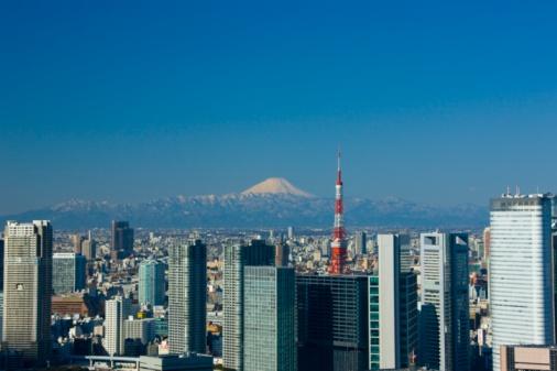Shiodome「The Shiodome building group, Tokyo Tower and Mt. Fuji, Tokyo, Japan.」:スマホ壁紙(17)
