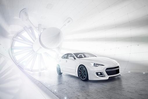 Sports Car「Aerogeneric Car Wind Tunnel white」:スマホ壁紙(7)