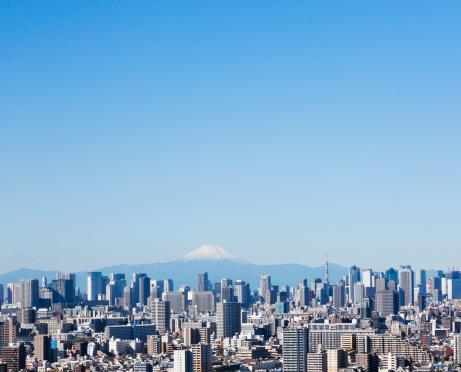 富士山「東京の街並み」:スマホ壁紙(1)
