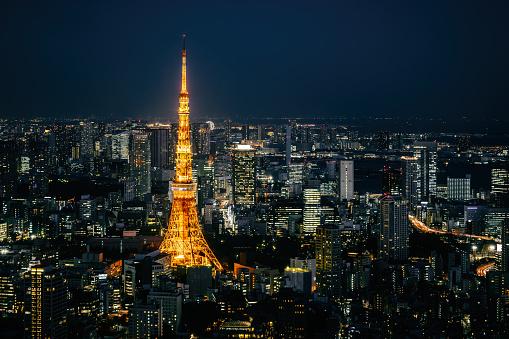 Tokyo Tower「Tokyo skyline at night」:スマホ壁紙(12)