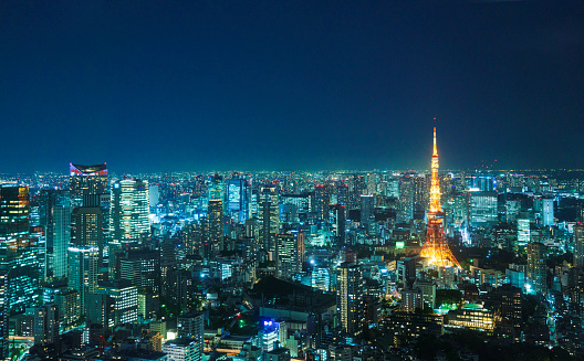 Tokyo Tower「Tokyo skyline at night.」:スマホ壁紙(6)