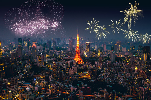 New Year「Tokyo skyline on New Year's day」:スマホ壁紙(8)