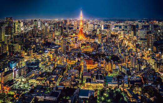 Tokyo - Japan「Tokyo skyline at night, Japan」:スマホ壁紙(10)