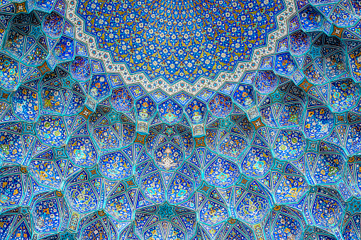 Arch - Architectural Feature「Tilework at Shah Mosque on Imam Square, Isfahan, Iran」:スマホ壁紙(1)