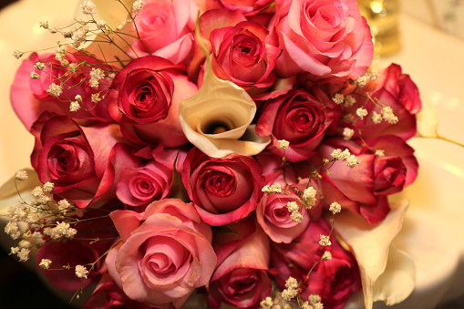 Rose - Flower「Wedding bouquet of pink and red roses」:スマホ壁紙(15)