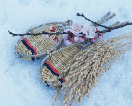 梅の花「Straw sandals and plum blossoms」:スマホ壁紙(6)