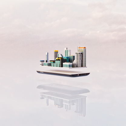 Device Screen「Miniature futuristic city floating over mobile phone」:スマホ壁紙(8)