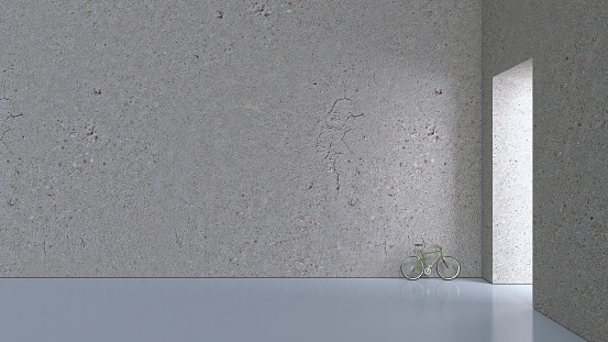 余白「Bicycle leaning on concrete wall of a hall, 3D Rendering」:スマホ壁紙(16)