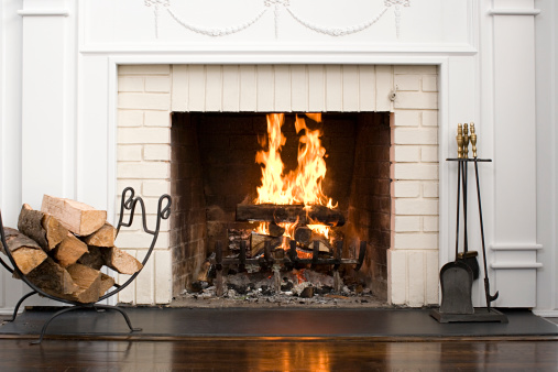 Thanksgiving「Fireplace with fire burning」:スマホ壁紙(10)