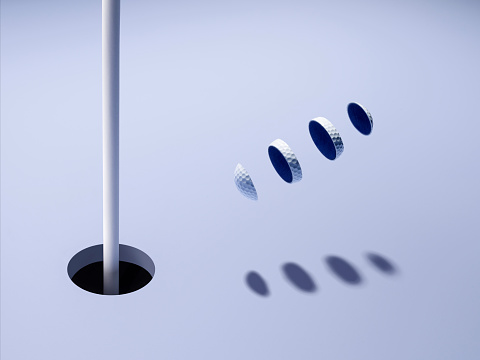 Pole「Sliced golf ball launches towards hole in one」:スマホ壁紙(12)