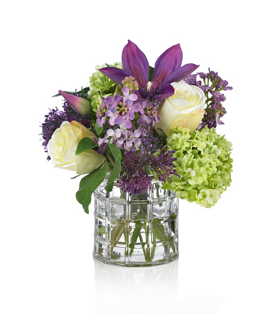 Purple「Lilac, Rose, Hydrangea and Clematis bouquet on white background」:スマホ壁紙(7)