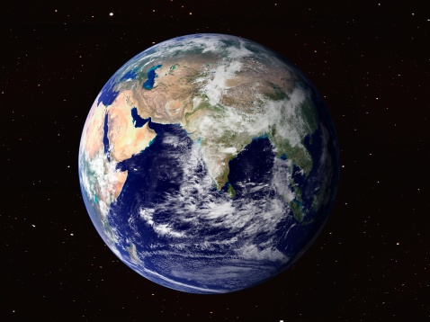 Planet Earth「Full Earth showing Europe and Asia (with stars).」:スマホ壁紙(1)