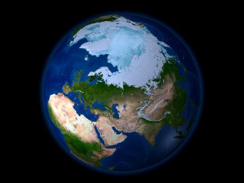 Solar System「Full Earth showing the Arctic region.」:スマホ壁紙(18)