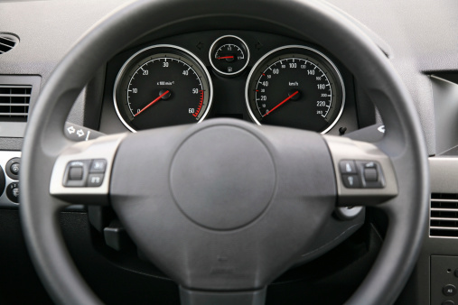 Dashboard - Vehicle Part「Fragment of car dashboard with steering wheel and meters」:スマホ壁紙(3)