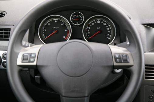 Steering Wheel「Fragment of car dashboard with steering wheel and meters」:スマホ壁紙(18)