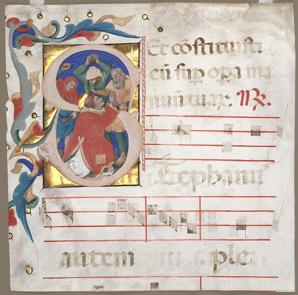 Tempera Painting「Fragment Of An Antiphonary With Historiated Initial (S): The Stoning Of St. Stephen」:写真・画像(19)[壁紙.com]