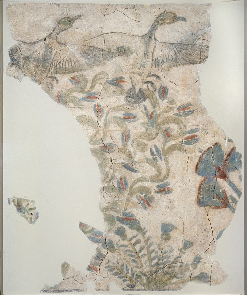 Blue「Fragment Of Painted Plaster Pavement Depicting Wild Geece Taking Flight」:写真・画像(3)[壁紙.com]