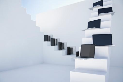 デジタル合成「Laptops on white modern stairs」:スマホ壁紙(16)