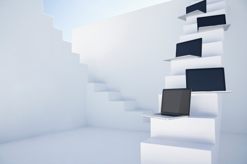 Five Objects「Laptops on white modern stairs」:スマホ壁紙(11)