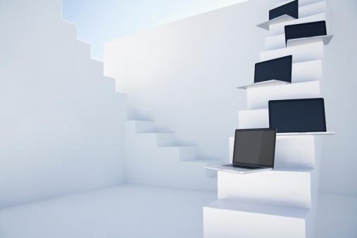Five Objects「Laptops on white modern stairs」:スマホ壁紙(12)