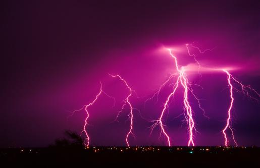 Thunderstorm「infrared shot of a bolt of lightning hitting the ground」:スマホ壁紙(1)