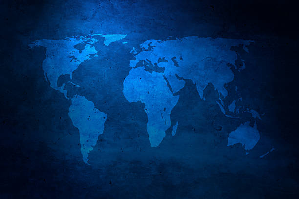Grunge blue world map:スマホ壁紙(壁紙.com)