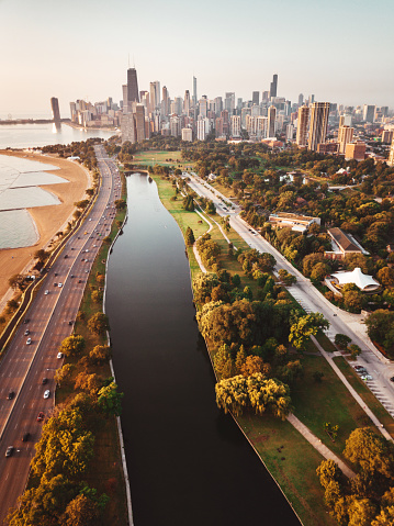 Great Lakes「chicago skyline aerial view」:スマホ壁紙(6)