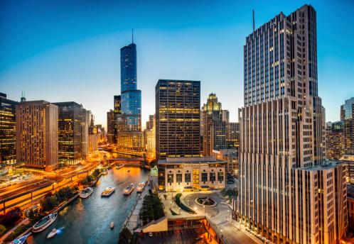 Chicago - Illinois「Chicago Skyline Aerial View」:スマホ壁紙(9)