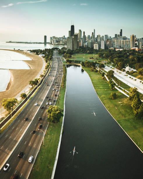 chicago skyline aerial view:スマホ壁紙(壁紙.com)