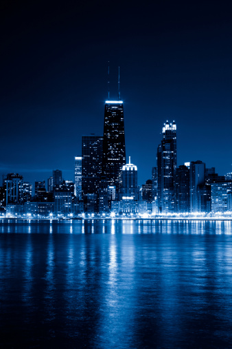 Great Lakes「Chicago skyline by night」:スマホ壁紙(2)