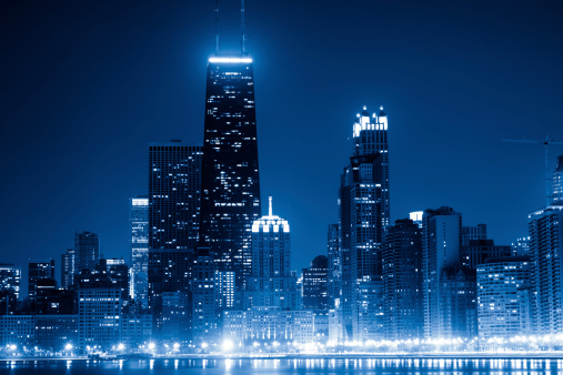 Great Lakes「Chicago skyline by night」:スマホ壁紙(7)