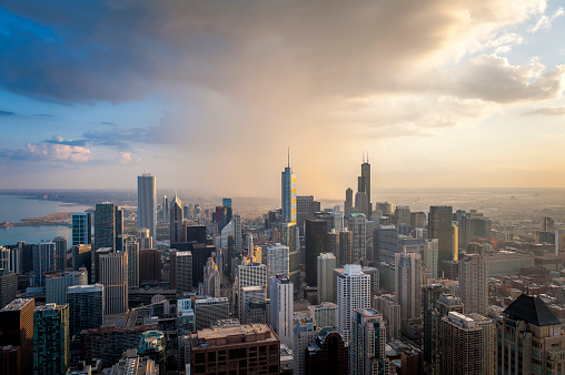 Rain「Chicago skyline view from 360 Chicago observation deck, John Hancock Building」:スマホ壁紙(5)