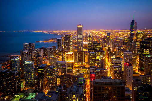 Great Lakes「Chicago skyline view from 360 Chicago observation deck, John Hancock Building」:スマホ壁紙(18)