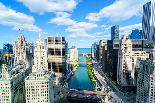 Great Lakes「Chicago skyline, Chicago River to Lake Michigan」:スマホ壁紙(5)