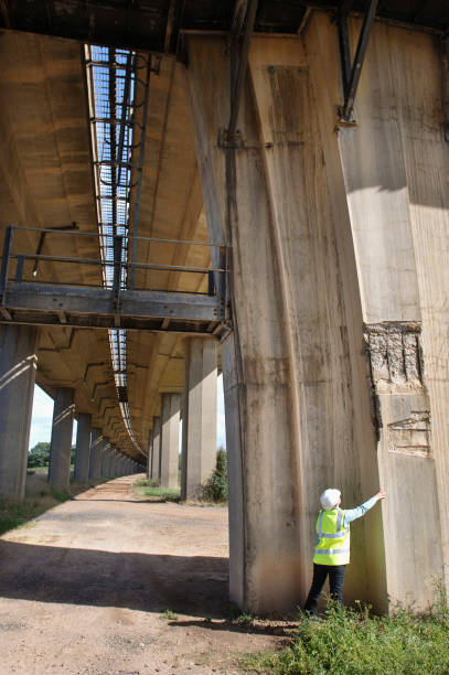 A female surveyor inspects damage to the reinforced concrete supports of a motorway bridge UK:ニュース(壁紙.com)