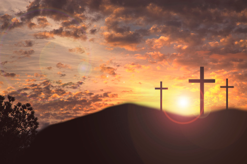 Cross Shape「Easter, Crucifixion scene with three cross on hill.」:スマホ壁紙(11)