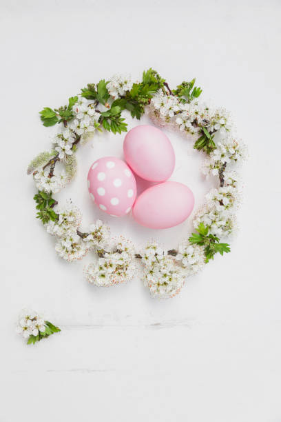 Hand dyed pink Easter eggs in cherry blossom nest on wooden background:スマホ壁紙(壁紙.com)
