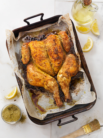 Chicken Wing「Roasted Spatchcock Lemon Chicken with Roasted Potatoes」:スマホ壁紙(1)