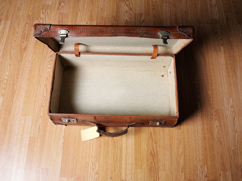 Suitcase「Empty Open old leather suitcase」:スマホ壁紙(3)