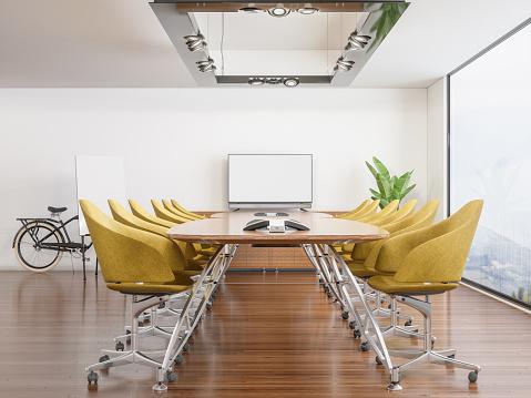Leadership「Meeting room with Blank Screen」:スマホ壁紙(6)