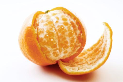 Orange - Fruit「Half peeled tangerine, close-up」:スマホ壁紙(1)
