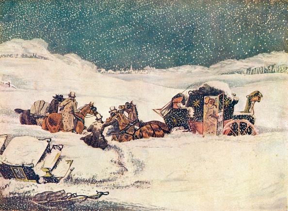 雪の吹きだまり「The Birmingham Mail near Aylesbury, the guard Banbury proceeding with the bags', 1837 (1907). Artist: Robert Havell」:写真・画像(19)[壁紙.com]