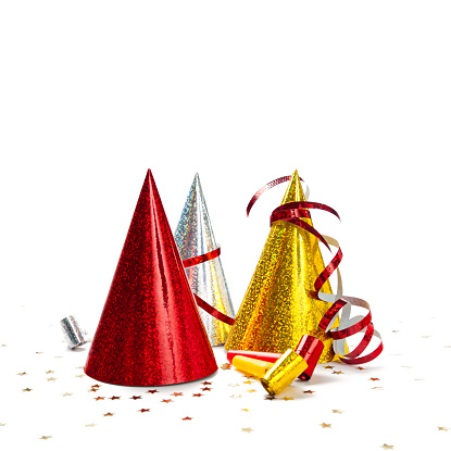 Carnival - Celebration Event「Multicoloured Party Hats isolated on white background, studio shot」:スマホ壁紙(2)