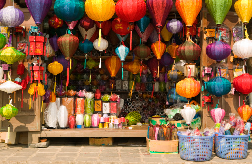 Chinese Lantern「silk lantern bazaar display hoi an vietnam」:スマホ壁紙(7)